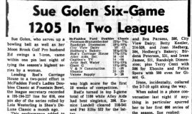 Sue Golen Six-Game 1205 In Two Leagues. November 16, 1965.