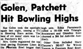 Golen, Patchett Hit Bowling Highs. November 26, 1963.