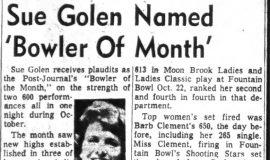 """Sue Golen Named 'Bowler Of Month"""". November 7, 1963."""