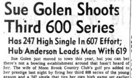 Sue Golen Shoots Third 600 Series. December 18, 1963.