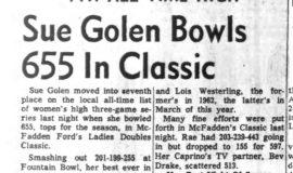 Sue Golen Bowls 655 In Classic. December 7, 1965.