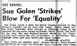 Sue Golen 'Strikes' Blow For 'Equality'. February 14, 1966.