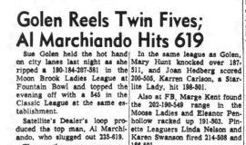 Golen Reels Twin Fives; Al Marchiando Hits 619. March 18, 1964.