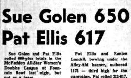 Sue Golen 650 Pat Ellis 617. March 2, 1965.