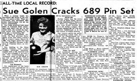 Sue Golen Crack 689 Pin Set. <em>Post-Journal</em> (Jamestown), March 2, 1966.