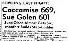 Caccamise 669, Sue Golen 601. March 22, 1966.