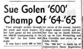 Sue Golen '600' Champ Of '64-'65. March 23, 1965..