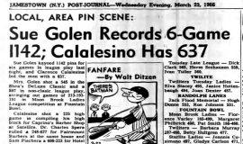Sue Golen Records 6-Game 1142; Calalesino Has 637. March 23, 1966.