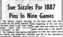 Sue Sizzles For 1887 Pins In Nine Games. March 9, 1965.