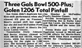 Three Gals Bowl 500-Plus; Golen 1206 Total Pinfall. March 9. 1966.