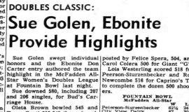 Sue Golen, Ebonite Provide Highlights. April 5, 1966.