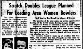 Scratch Doubles League Planned For Leading Area Women Bowlers. August 13, 1964.