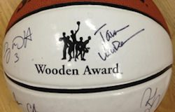 Among the donated items is a 2014 Wooden Award/Legends of Coaching autographed basketball.