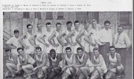 1949 Jamestown High School track team. Ted Olsen is in back row, fifth from right (with glasses).