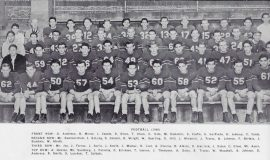 1950 Jamestown High School football team. Ted Olsen is in front row, #54.