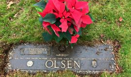 Ted Olsen's grave marker, Sunset Hill Cemetery, Lakewood, NY.