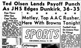 Ted Olsen Lends Payoff Punch As JHS Edges Dunkirk, 36-35. February 12, 1949.
