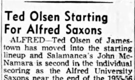 Ted Olsen Starting For Alfred Saxons. February 28, 1956.