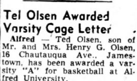 Ted Olsen Awarded Varsity Cage Letter. March 29,1952.