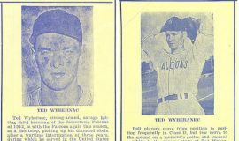 Ted Wyberanec from the 1946 (left) and 1947 Jamestown Falcons program booklets.