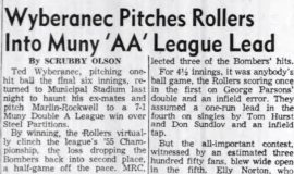 Wyberanec Pitches Rollers Into Muny 'AA' League Title. August 3, 1955.