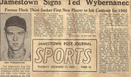 Jamestown Signs Ted Wyberanec. December 11, 1945.