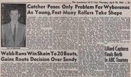 Catcher Poses Only Problem For Wyberanec. April 18, 1957.