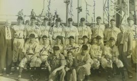 Ted Wyberanec, third from left in last row in this photo of the 1942 Jamestown Falcons.