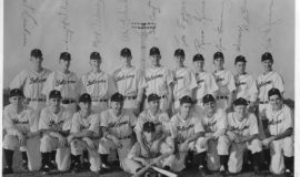 Ted Wyberanec is in the back row, last on right, in this photo of the 1947 Jamestown Falcons.