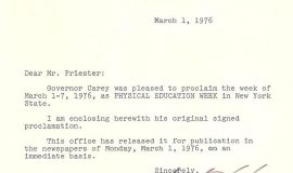 Letter from Governor Hugh Carey, 1976.
