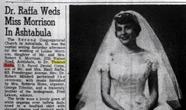 Dr. Raffa Weds Miss Morrison In Ashtabula. July 11, 1956.