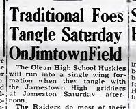 Traditional Foes Tangle Saturday On Jimtown Field. August 22, 1948.