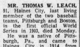 Mr. Thomas W. Leach (obituary).  October 1, 1969.