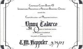 I.A.A.B.O.  certificate of appreciation, 2007.