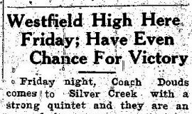 Westfield High Here Friday; Have Even Chance For Victory. January 16, 1941.