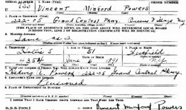 Vincent Powers WWII draft card.