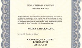 Board of Elections certification of Wally Huckno's election to the Chautauqua County Legislature, December 1, 2003.