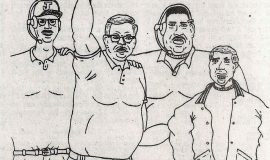 DiNapoli drawing of the JHS football coaching staff. Left to right, Dave Currie, Tom Phillips, Joe DiMaio and Wally Huckno.