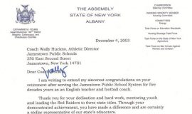 Assemblywoman Cathy Young's letter congratulating Wally Huckno on his retirement, December 4, 2003.