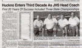 Huckno Enters Third Decade As JHS Head Coach (page 1). September 4, 2003.