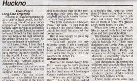 Huckno Enters Third Decade As JHS Head Coach (page 3). September 4, 2003.