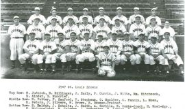 1947 St. Louis Browns. Walt Brown is second from right in middle row