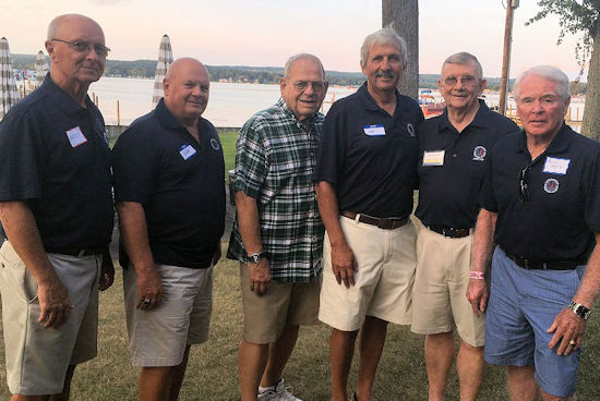 Six officers of the CSHOF stand together. 2018-19 CSHoF officers, left to right, are Randy Anderson, Bob Schmitt, Ron Melquist, Lee Johnson, Russ Ecklund and Bill Race.