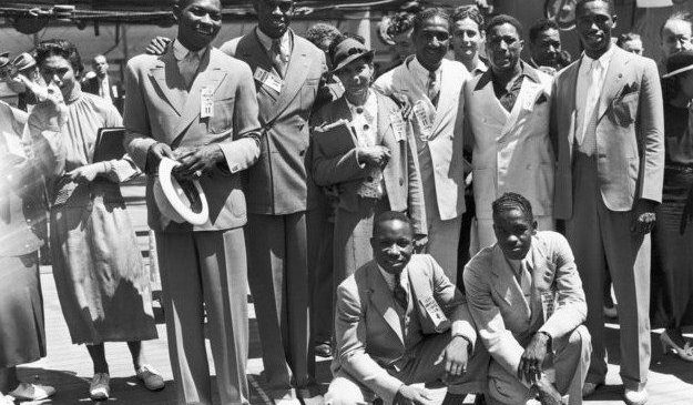 These were some of the 18 black athletes that competed for the USA at the 1936 Olympic games in Berlin. July 1936.