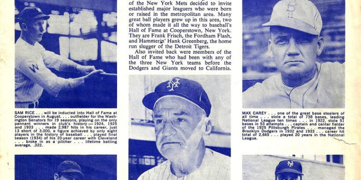 1963 New York Mets Old Timers Day program book page 1