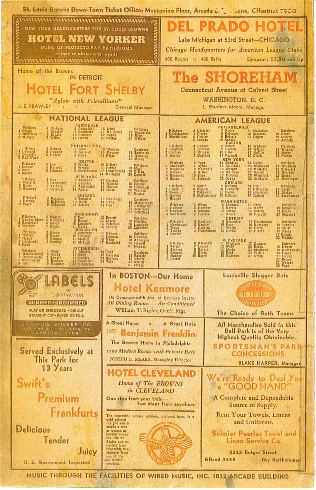 1947 St. Louis Browns score card page 4
