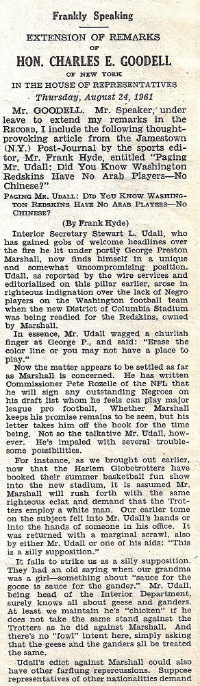 Frankly Speaking column entered into Congressional Record August 24, 1961. part 1