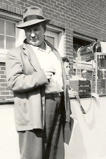 Frank Hyde stands in the concourse at Municipal Stadium in 1949.