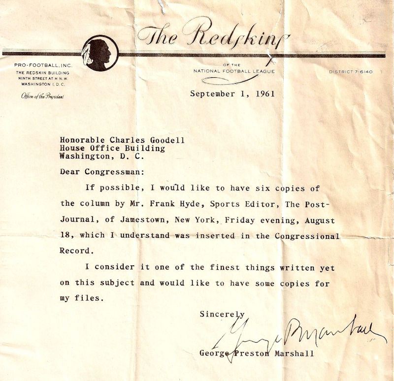 Correspondence from George P. Marshall to Charles Goodell, September 1, 1961.