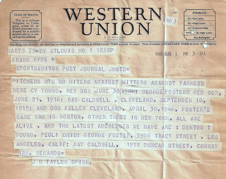 Taylor Spink to Frank Hyde telegram, 1946